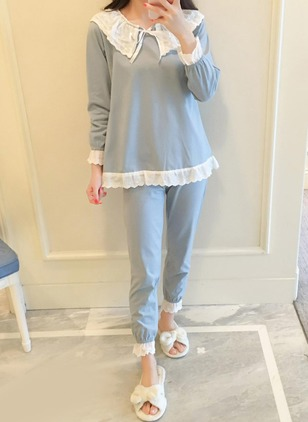 Cotton Round Neckline Color Block Lace Pajamas