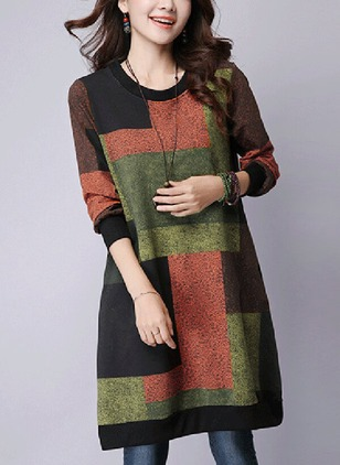 Cotton Color Block Long Sleeve Dresses