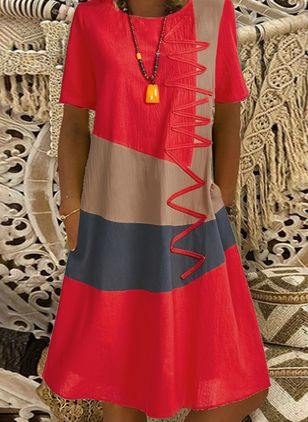 Casual Color Block Tunic Round Neckline A-line Dress (6047280)