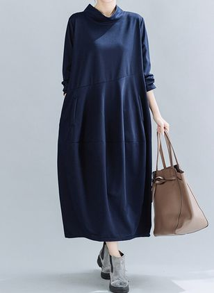 Casual Solid Tunic Round Neckline O Dress (111798697)