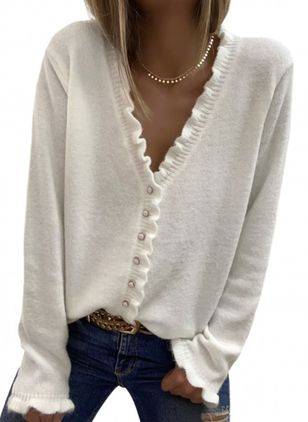 V-Neckline Solid Casual Regular Buttons Sweaters (146683800)