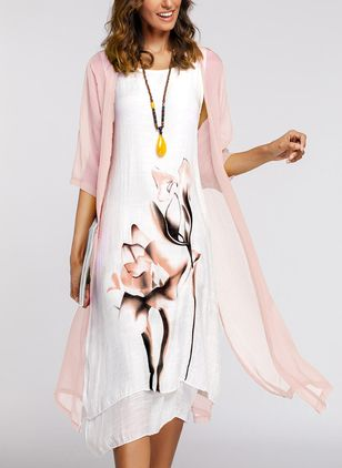 Floral Round Neckline 3/4 Sleeves Midi X-line Dress (1247925)