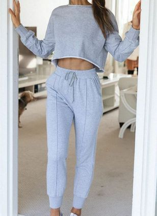 Round Neckline Plain Pockets Sashes Pajamas (107519592)