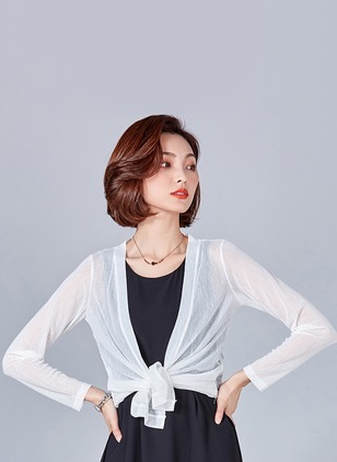 Polyester Long Sleeve Collarless Ruffles Coats