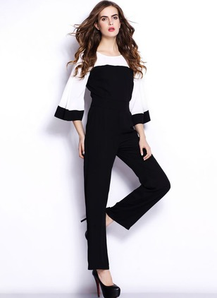 Polyester Color Block 3/4 Sleeves Jumpsuits & Rompers