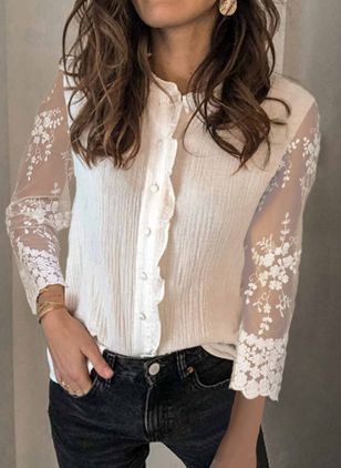 Solid Casual V-Neckline 3/4 Sleeves Blouses (147017488)