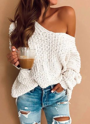 Oblique Neckline Solid Loose Long Shift Sweaters