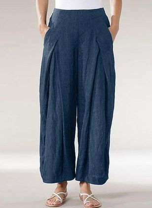 Casual Loose Pockets Mid Waist Polyester Pants (147156090)