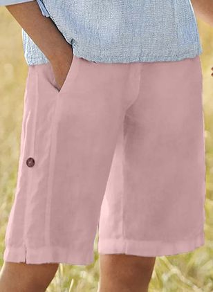 Casual Straight Pockets Mid Waist Cotton Shorts (147429649)