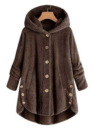 Long Sleeve Hooded Buttons Padded Coats