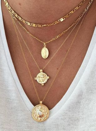 Casual Round Pendant Necklaces (104534109)