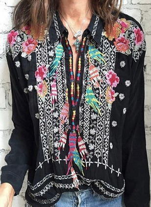 Floral Collar Long Sleeve Blouses