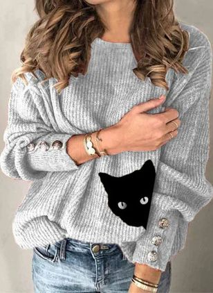 Round Neckline Animal Casual Loose Regular Shift Sweaters (146737349)