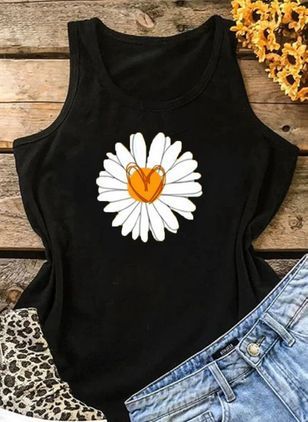 Floral Round Neck Sleeveless Casual T-shirts (4043573)