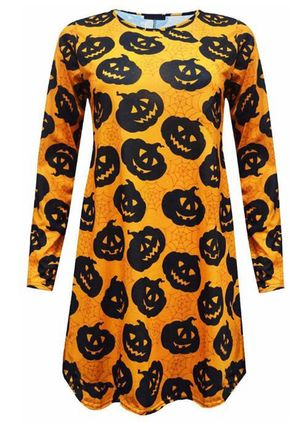Color Block Halloween Round Neckline Long Sleeve Blouses (108860571)