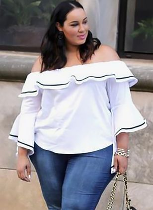 Plus Size Color Block Casual Off the Shoulder 3/4 Sleeves Blouses