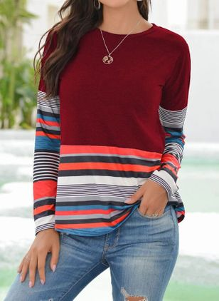 Color Block Round Neck Long Sleeve Casual T-shirts (111322181)