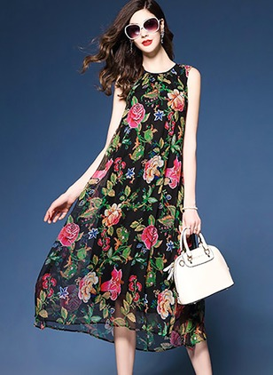 Chiffon Floral Sleeveless Mid-Calf Vintage Dresses  ...