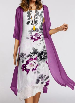 Casual Floral Tunic Round Neckline Shift Dress (1497009)