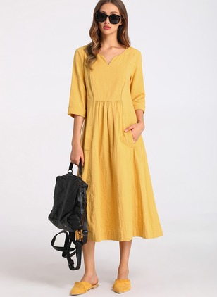 Cotton Polyester Solid 3/4 Sleeves Midi Dresses