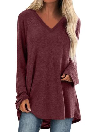 Solid V-Neckline Long Sleeve Casual T-shirts (105022354)