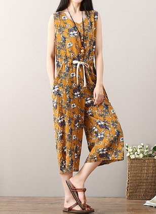 Cotton Floral Sleeveless Jumpsuits & Rompers