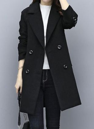 Long Sleeve Lapel Buttons Coats (110711237)