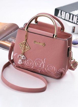Shoulder PU Rhinestone Adjustable Double Handle Bags
