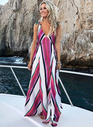 Color Block Slip Sleeveless Maxi A-line Dress