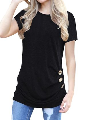 Solid Casual Round Neckline Short Sleeve Blouses (1472069)