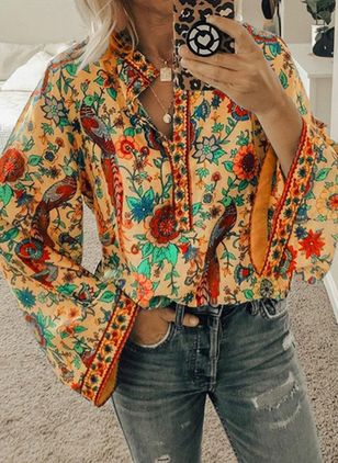 Plus Size Floral Round Neckline Vintage Shift Blouses Long Sleeve Plus Blouses (1468002)