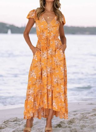 Casual Floral V-Neckline Maxi X-line Dress (147056541)
