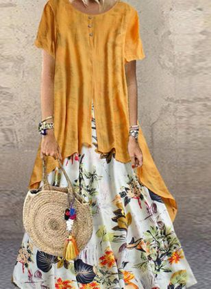 Plus Size Tunic Floral Round Neckline Casual Maxi Plus Dress (1534031)