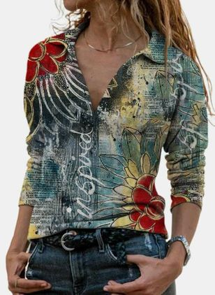 Floral Casual Collar Long Sleeve Blouses (128229471)