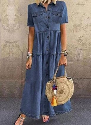 Shift Dress Collar Denim Dress (4457138)