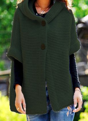 Half Sleeve Hooded Buttons Sweaters Coats (101398969)