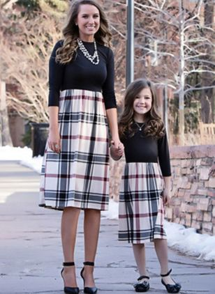 Mommy and Me Plaid Casual 3/4 Sleeves Family Outfits (4048229)