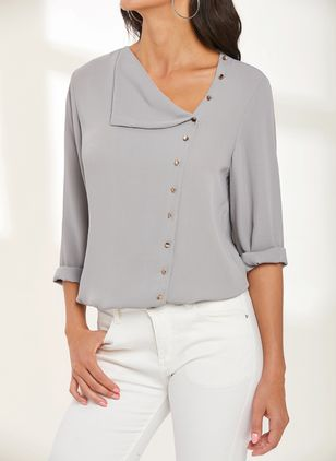 Solid Casual Blouses (1277572)