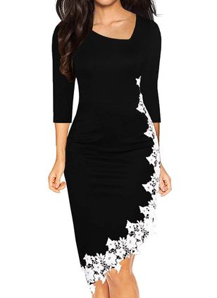 Elegant Floral Pencil V-Neckline Bodycon Dress (112236526)