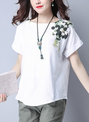 Solid Casual Polyester Round Neckline Half Sleeve Blouses