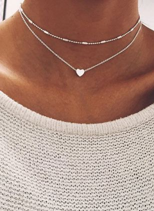 Casual Heart No Stone Pendant Necklaces (4355572)