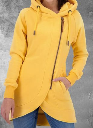 Long Sleeve Hooded Zipper Pockets Zip Up Coats (146846552)