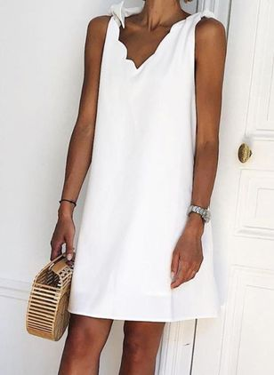 Casual Solid Tunic Camisole Neckline Shift Dress (4369672)