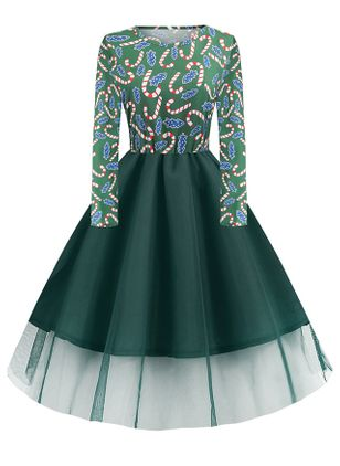 Christmas Geometric Skater Round Neckline X-line Dress (146771596)