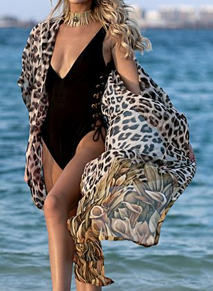 Plus Size Cover-Ups Chiffon Pattern Plus Swimwear (1530427)