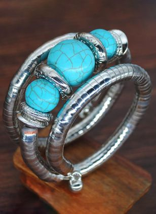 Casual Ball Round Gemstone Bangle Bracelets (1405805)