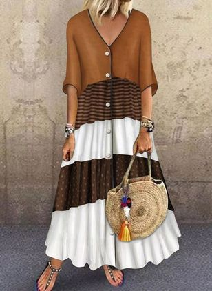 Color Block Halve mouw Maxi Jurken (6000173)