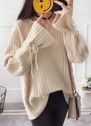 Cotton V-Neckline Solid Long None Sweaters