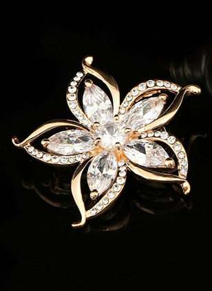 Single Floral Crystal Brooches