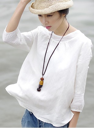 Linen Solid Round Neck 3/4 Sleeves Casual T-shirts